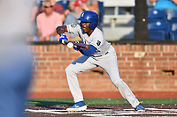 Burlington Royals Diego Hernandez (4) attempts to bunt during game one of the Appalachian League Championship Series against the Johnson City Cardinals at TVA Credit Union Ballpark on September 2, 2019 in Johnson City, Tennessee. The Royals defeated the Cardinals 9-2 to take the series lead 1-0. (Tony Farlow/Four Seam Images)