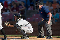Koby Clemens (2) of the Salem Avalanche behind the plate along with home plate umpire Matt Abbott during Carolina League action versus the Winston-Salem Warthogs at Ernie Shore Field in Winston-Salem, NC, Saturday, May 10, 2008.
