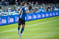 SAN JOSE, CA - APRIL 24: Carlos Fierro #7 of the San Jose Earthquakes traps the ball during a game between FC Dallas and San Jose Earthquakes at PayPal Park on April 24, 2021 in San Jose, California.