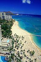 Aerial view of Waikiki beach coastline with hotels and Diamond head
