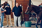 Philadelphia Eagles Head Coach Andy Reid came to Fair Hill to visit Animal Kingdom, winner of the 137th Kentucky Derby, and his trainer Graham Motion on May 13, 2011 in Fair Hill, Maryland.