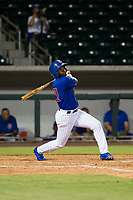 AZL Cubs shortstop Delvin Zinn (21) follows through on his swing against the AZL Padres 2 on August 28, 2017 at Sloan Park in Mesa, Arizona. AZL Cubs defeated the AZL Padres 2 9-4. (Zachary Lucy/Four Seam Images)