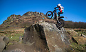 25/02/18<br /> <br /> Harry Bowyer, 13, braves freezing conditions to tackle a seemingly impossible obstacle at today's Staffordshire and Moorlands Trial held at Buttyfold Farm beneath Hen Cloud in an area of the Peak District known as The Roaches near Leek, Staffordshire. <br /> <br /> All Rights Reserved: F Stop Press Ltd. +44(0)1335 344240  www.fstoppress.com.