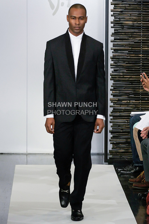 Model walks runway in an outfit from the Blanc de Chine Spring Summer 2013 Fashion Fusion collection, during New York Fashion Week Spring 2013.