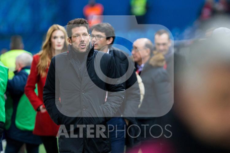 Atletico de Madrid's coach Diego Pablo Cholo Simeone during the match of Copa del Rey between Atletico de Madrid and Las Palmas, at Vicente Calderon Stadium,  Madrid, Spain. January 10, 2017. (ALTERPHOTOS/Rodrigo Jimenez)