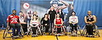 The Canadian Paralympic Committee cross country tour, led by Rio Chef de Mission Chantal Petitclerc,  puts on a wheelchair basketball demonstration at Mount Royal University in Calgary, Alberta on January 19, 2016. Pictured (from left to right) Stampeder Keon Raymond, Ryan Tonn, Kendra Ohama, Diane Sorensen, Chantal Petitclerc, Stefan Daniel, Chad Jassman, Morgan Bird, Dalten Campbell and Dom Shaw.
