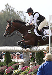 Karin Donckers and Gazelle de la Brasserie CH of the Belgium compete in the cross country phase of the FEI  World Eventing Championship at the Alltech World Equestrian Games in Lexington, Kentucky.