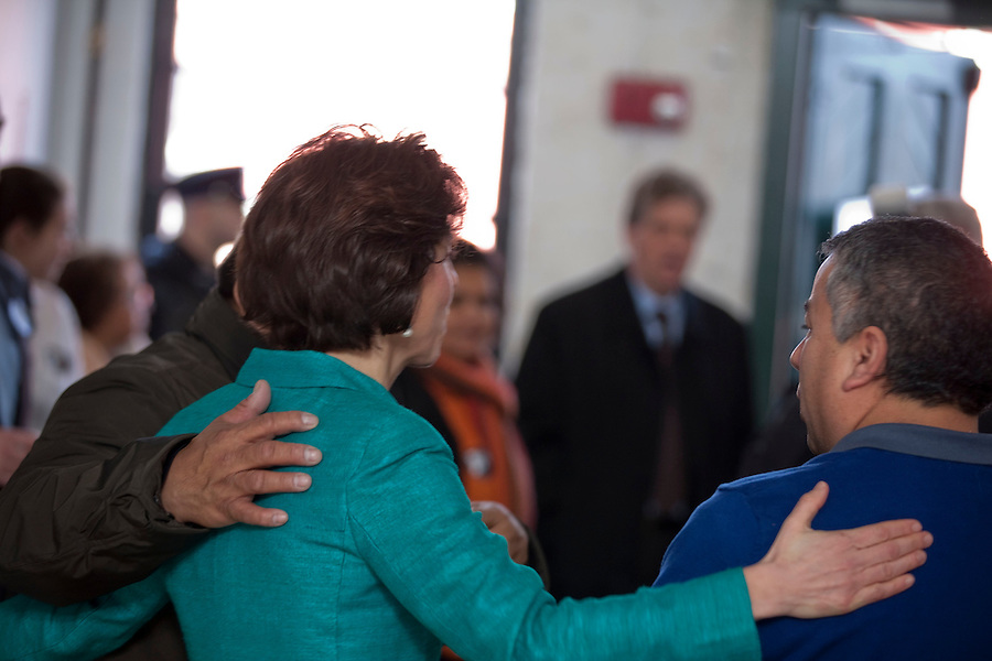 Raimondo for Governor Campaign/Mae Gammino<br /> <br /> Surrounded by supporters, Rhode Island General Treasurer Gina Raimondo, holds a rally in Pawtucket, RI on Monday, January 13, 2014, to formally announce the kickoff of her campaign for Governor.