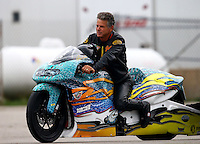 Aug 30, 2014; Clermont, IN, USA; NHRA pro stock motorcycle rider Jerry Savoie during qualifying for the US Nationals at Lucas Oil Raceway. Mandatory Credit: Mark J. Rebilas-USA TODAY Sports