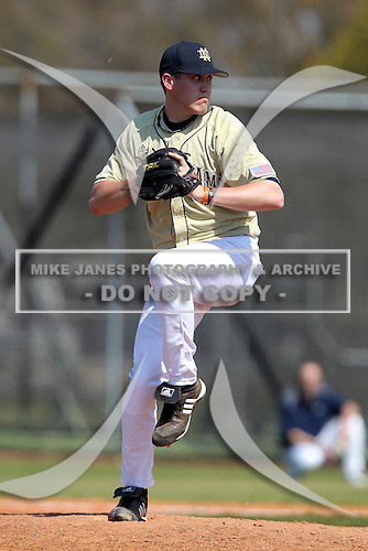 Pitcher Will Hudgins #45 of the Notre Dame Fighting Irish during a game vs the Penn State Nittany Lions at the Big East-Big Ten Challenge at Walter Fuller Complex in St. Petersburg, Florida;  February 20, 2011.  Notre Dame defeated Penn State 8-5.  Photo By Mike Janes/Four Seam Images