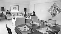 1967 FILE PHOTO - ARCHIVES -<br /> <br /> The apartment dweller of the future could find himself in a luxurious room - habitat style. Each Habitat apartment has its own garden and each gets some sun every day. Houses are prefabricated and hoisted into place.<br /> <br /> 1967<br /> <br /> PHOTO : Boris Spremo - Toronto Star Archives - AQP
