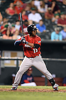 Oklahoma City RedHawks shortstop Gregorio Petit (13) at bat during a game against the Memphis Redbirds on May 23, 2014 at AutoZone Park in Memphis, Tennessee.  Oklahoma City defeated Memphis 12-10.  (Mike Janes/Four Seam Images)