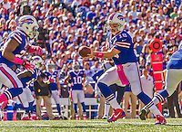 12 October 2014: Buffalo Bills quarterback Kyle Orton (18) hands off to running back Fred Jackson during a game against the New England Patriots at Ralph Wilson Stadium in Orchard Park, NY. The Patriots defeated the Bills 37-22 to move into first place in the AFC Eastern Division. Mandatory Credit: Ed Wolfstein Photo *** RAW (NEF) Image File Available ***