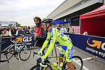 Rafal Majka (POL) Tinkoff-Saxo chats with photographer Luca Bettini before the start of the 2015 96th Milan-Turin 186km race starting at San Giuliano Milanese, Italy. 1st October 2015.<br /> Picture: Eoin Clarke | Newsfile