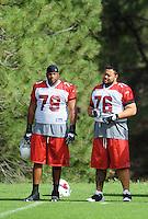 Jul 31, 2009; Flagstaff, AZ, USA; Arizona Cardinals tackle (79) Oliver Ross and guard (76) Deuce Lutui during training camp on the campus of Northern Arizona University. Mandatory Credit: Mark J. Rebilas-
