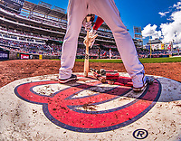 16 August 2017: Washington Nationals outfielder Michael Taylor prepares his bat on deck during a game against the Los Angeles Angels at Nationals Park in Washington, DC. The Angels defeated the Nationals 3-2 to split their 2-game series. Mandatory Credit: Ed Wolfstein Photo *** RAW (NEF) Image File Available ***