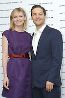 """KIRSTEN DUNST & TOBEY MAGUIRE.Photocall for """"Spider-Man 3"""" held at the Hotel Excelsior, Rome, Italy..April 24th, 2007.half length purple sleeveless dress blue suit jacket red belt.CAP/CAV.©Luca Cavallari/Capital Pictures"""