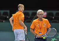 Switserland, Genève, September 20, 2015, Tennis,   Davis Cup, Switserland-Netherlands, Tallon Griekspoor (NED) and coach Martin Bohm<br /> Photo: Tennisimages/Henk Koster