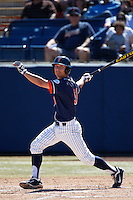 Jared Deacon #31 of the Cal State Fullerton Titans bats against the Texas A&M Aggies at Goodwin Field on March 10, 2013 in Fullerton, California. (Larry Goren/Four Seam Images)