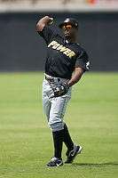 Quincy Latimore #22 of the West Virginia Power warms up in the outfield prior to taking on the Hickory Crawdads at L.P. Frans Stadium August 9, 2009 in Hickory, North Carolina. (Photo by Brian Westerholt / Four Seam Images)