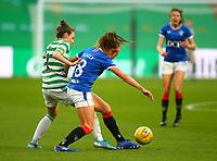 21st April 2021; Celtic Park, Glasgow, Scotland; Scottish Womens Premier League, Celtic versus Rangers; Sarah Ewens of Celtic Women tackles Kirsten Reilly of Rangers Women