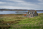Isle of Lewis, Outer Hebridies Scotland:<br /> Abandoned isolated house wtih pink door
