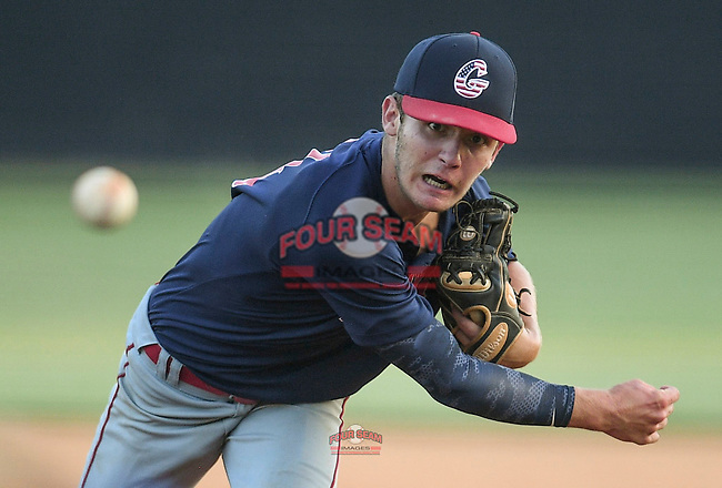 Riverside High grad Brody Fahr (11), a Presbyterian College commit, pitches in relief for the Greer Warhawks in a South Carolina American League game against Easley on Tuesday, July 14, 2020, at Stevens Field in Greer, South Carolina. Greer won, 18-1. (Tom Priddy/Four Seam Images)