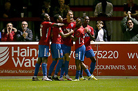 Will Wright of Dagenham and Redbridge scores the third goal for his team and celebrates with his team mates during Dagenham & Redbridge vs Weymouth, Vanarama National League Football at the Chigwell Construction Stadium on 14th September 2021