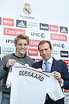 Norwegian soccer player Martin Odegaard and Spanish ex soccer player Emilio Butragueno during his presentation as new player of the Real Madrid at Bernabeu at Real Madrid City in Madrid. January 22, 2015. (ALTERPHOTOS/Caro Marin)
