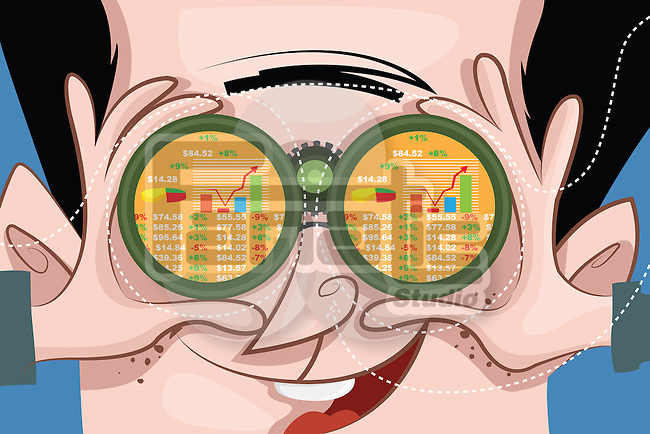 Illustrative image of happy man keeping a watch on stock market through binoculars