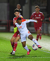 Blackpool's Keshi Anderson battles with Accrington Stanley's Tom Scully<br /> <br /> Photographer Dave Howarth/CameraSport<br /> <br /> EFL Trophy Northern Section Group G - Accrington Stanley v Blackpool - Tuesday 6th October 2020 - Crown Ground - Accrington<br />  <br /> World Copyright © 2020 CameraSport. All rights reserved. 43 Linden Ave. Countesthorpe. Leicester. England. LE8 5PG - Tel: +44 (0) 116 277 4147 - admin@camerasport.com - www.camerasport.com