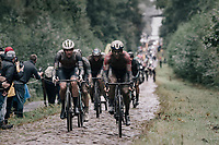 Mads Pedersen (DEN/Trek-Segafredo) & Guillaume Boivin (CAN/Israel Start-Up Nation) coming through the Arenberg Forest / Trouée d'Arenberg / Bois de Wallers<br /> <br /> 118th Paris-Roubaix 2021 (1.UWT)<br /> One day race from Compiègne to Roubaix (FRA) (257.7km)<br /> <br /> ©kramon