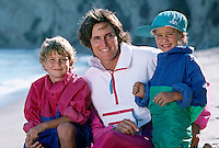 Bruce Jenner (now Caitlyn Jenner) with sons Brandon and Brody, Malibu Beach, California, 1988. Photo by John G. Zimmerman