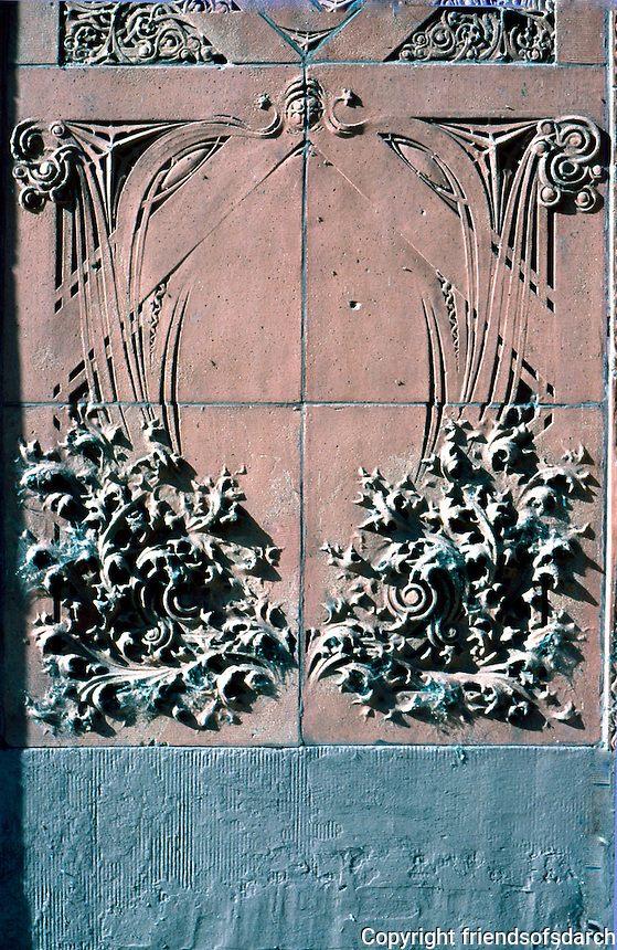 "Louis Sullivan: Guaranty Bldg. Terra cotta panels at corner of building. Some of these panels were ""detailed"" by George Grant Elmslig, Adler & Sullivan's chief draftsman.  Photo '88."