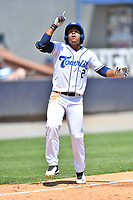 Asheville Tourists Enmanuel Valdez (2) celebrates hitting a home run during a game against the Greenville Drive on May 23, 2021 at McCormick Field in Asheville, NC. (Tony Farlow/Four Seam Images)