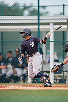 GCL Yankees East designated hitter Starlin Paulino (6) hits a double during the second game of a doubleheader against the GCL Pirates on July 31, 2018 at Pirate City Complex in Bradenton, Florida.  GCL Pirates defeated GCL Yankees East 12-4.  (Mike Janes/Four Seam Images)