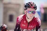 Tao Geoghegan Hart (GBR/Ineos) at the race start in Vasto<br /> <br /> Stage 7: Vasto to L'Aquila (180km)<br /> 102nd Giro d'Italia 2019<br /> <br /> ©kramon
