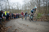 Stijn Vandenbergh (BEL/Etixx-QuickStep) leads an elite group over the steep Baneberg, ahead of Geraint Thomas (GBR/SKY) & Daniel Oss (ITA/BMC)<br /> <br /> 77th Gent-Wevelgem 2015