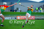 Shane Conway, Kerry in action against Kevin McDonald, Carlow during the Joe McDonagh hurling cup fourth round match between Kerry and Carlow at Austin Stack Park on Saturday.