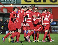 KV Kortrijk - KV Mechelen : vreugde bij KV Kortrijk na de 1-0 van Mitrovic.foto VDB / BART VANDENBROUCKE
