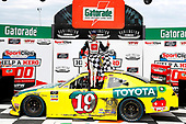 #19: Brandon Jones, Joe Gibbs Racing, Toyota Supra 03 Dash Championship celebrates in victory lane