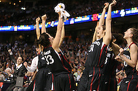 6 April 2008: Stanford Cardinal (L-R) coaching intern Jackie Zink, Jillian Harmon, Morgan Clyburn, and Hannah Donaghe during Stanford's 82-73 win against the Connecticut Huskies in the 2008 NCAA Division I Women's Basketball Final Four semifinal game at the St. Pete Times Forum Arena in Tampa Bay, FL.