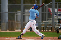 Indiana State Sycamores Mitch Barrow (19) bats during a game against the Dartmouth Big Green on February 21, 2020 at North Charlotte Regional Park in Port Charlotte, Florida.  Indiana State defeated Dartmouth 1-0.  (Mike Janes/Four Seam Images)