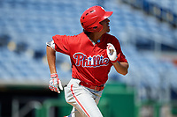 Philadelphia Phillies Jose Cedeno (16) runs to first base during a Florida Instructional League game against the New York Yankees on October 12, 2018 at Spectrum Field in Clearwater, Florida.  (Mike Janes/Four Seam Images)