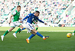 Hibs v St Johnstone….24.08.19      Easter Road     SPFL <br />Michael O'Halloran scores his goal<br />Picture by Graeme Hart. <br />Copyright Perthshire Picture Agency<br />Tel: 01738 623350  Mobile: 07990 594431