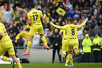 30th May 2021; Auckland, New Zealand;  Tomer Hemed celebrates his goal with Cam Devlin. Wellington Phoenix versus Perth Glory, A-League football at Eden Park.