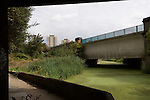 City Mill River Towpath.  East London the site of the 2012 Olympic Games    Stratford Marsh, Stratford, England 2006.