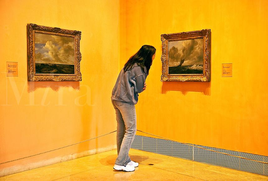 Woman admiring artwork in a museum, Thyssen-Bornemisza, Museum, Madrid, Spain
