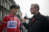 Jelle Vanendert (BEL/Lotto-Belisol) interviewed before the start by Sporza radio commentator Christophe Van de Goor<br /> <br /> Liège-Bastogne-Liège 2014