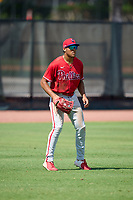 Philadelphia Phillies outfielder Jose Cedeno (16) during an Extended Spring Training game against the Toronto Blue Jays on June 12, 2021 at the Carpenter Complex in Clearwater, Florida. (Mike Janes/Four Seam Images)